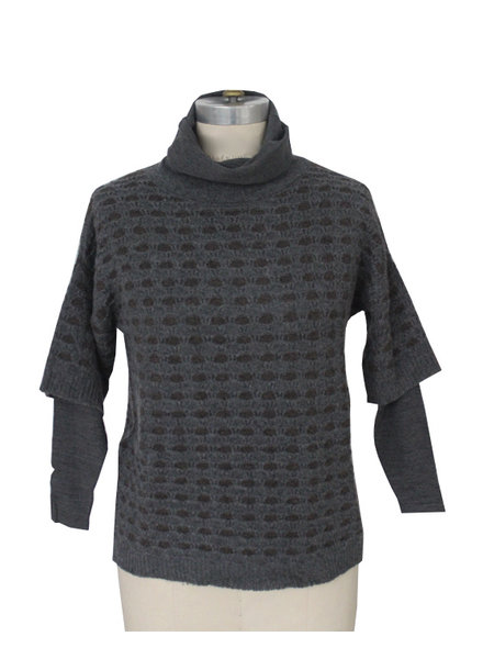 TEXTURED  DOUBLE COLLAR SWEATER, ANTHRACITE-BROWN