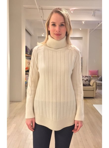 ROLL NECK SWEATER WITH CABLES, IVORY
