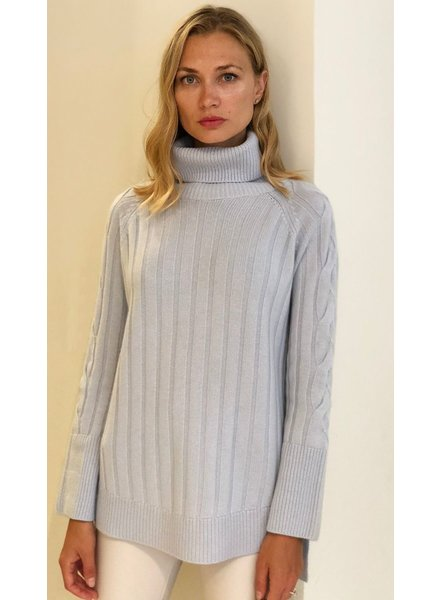ROLL NECK SWEATER WITH CABLES,LIGHT BLUE