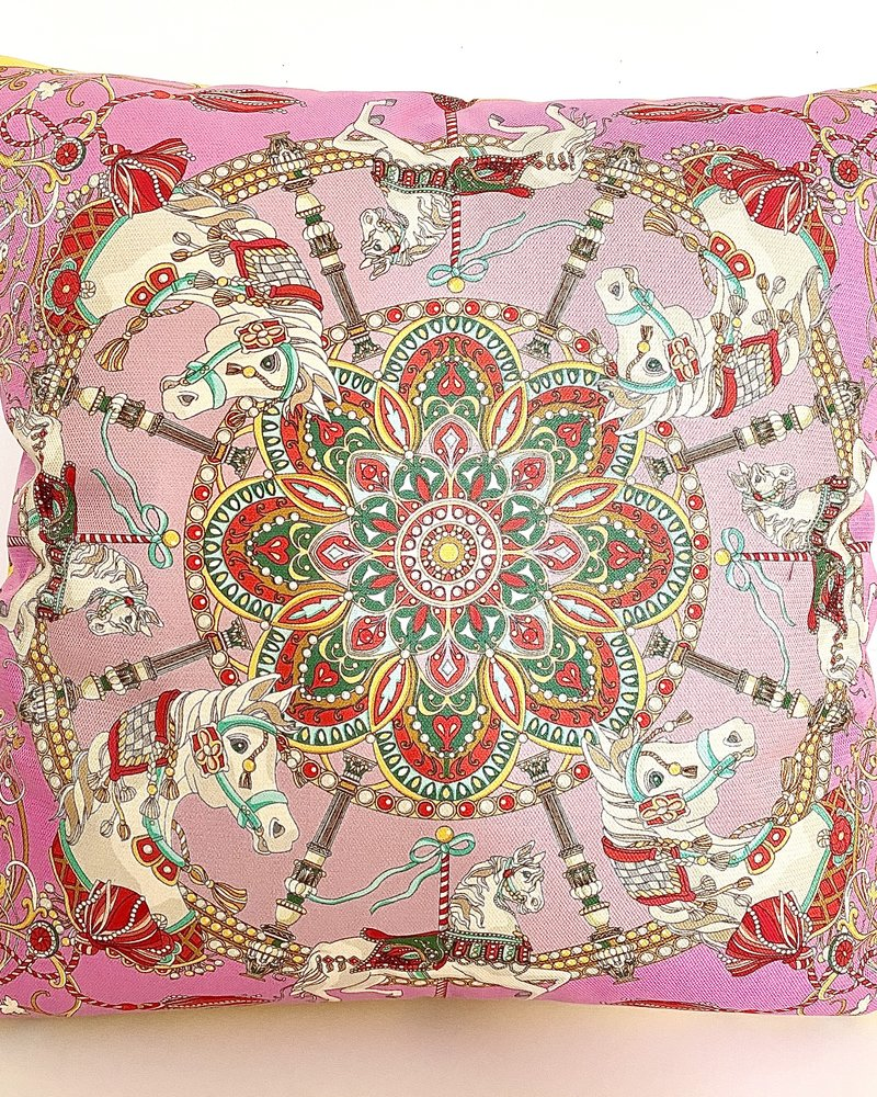 """SILK PRINTED SCARF ON BOTH SIDE: 24"""" X 24"""": TOY HORSES-CANDY"""