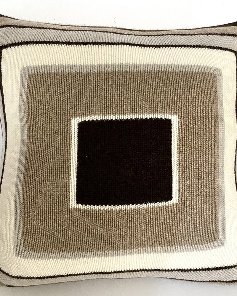 """CASHMERE MULTICOLOR FRAMES PILLOW: 21""""X21"""": CHOCOLATE-TAUPE"""