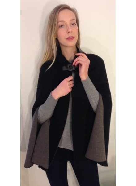 CASHMERE DOUBLE KNIT CAPE, NAVY-ANTHRACITE