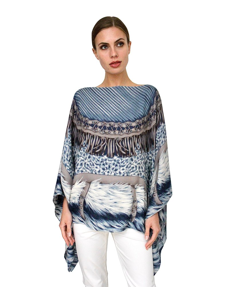 PRINTED CASHMERE PONCHO: FEATHERS: BLUE