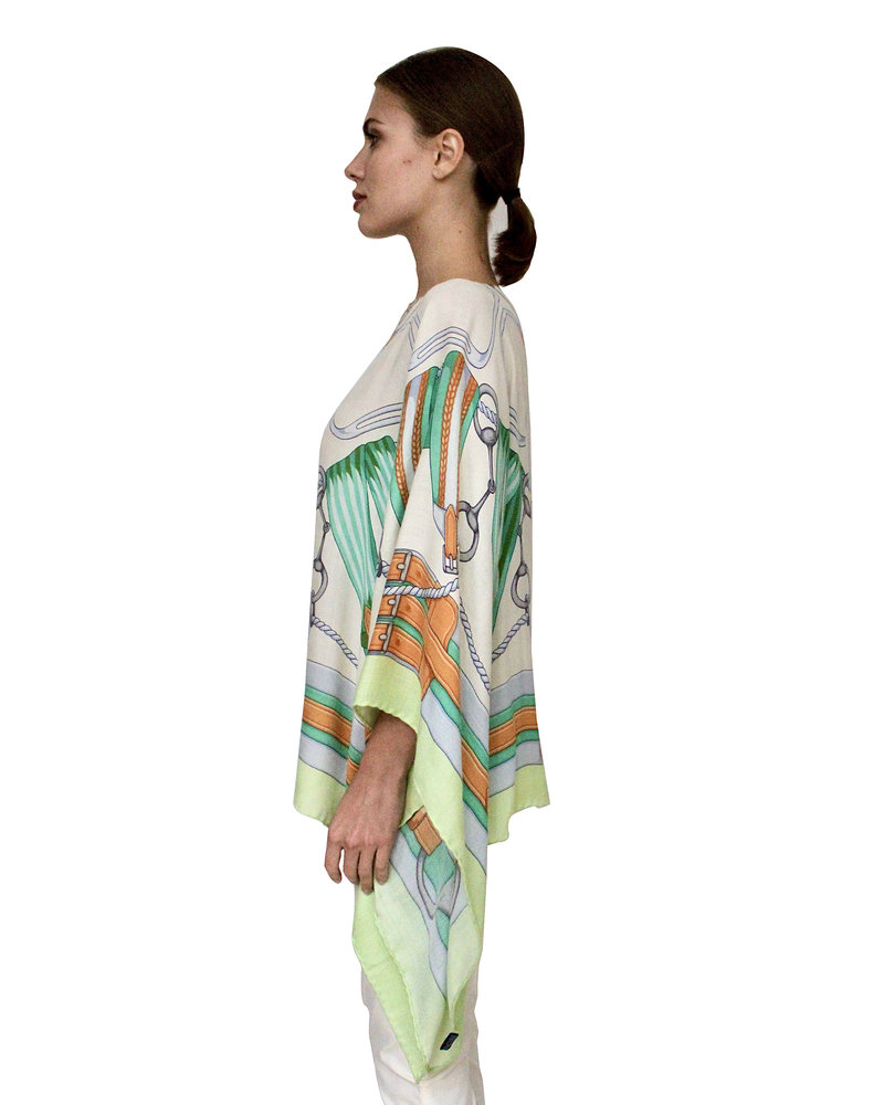 CASHMERE PRINTED PONCHO: STIRRUPS: FOREST