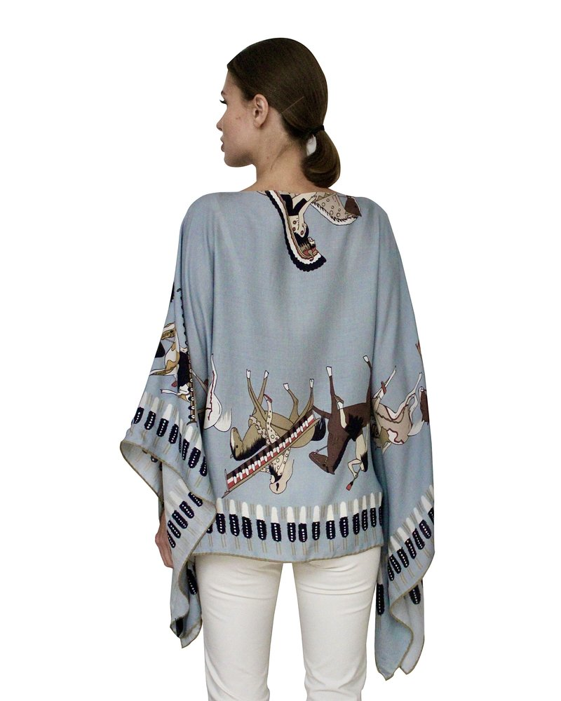 CASHMERE PRINTED PONCHO: AMERICAN INDIAN: TEAL
