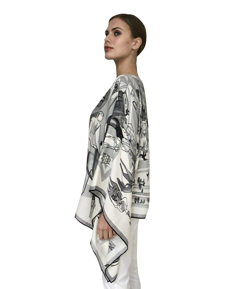 PRINTED CASHMERE PONCHO: AFTER THE RACE:GRAY