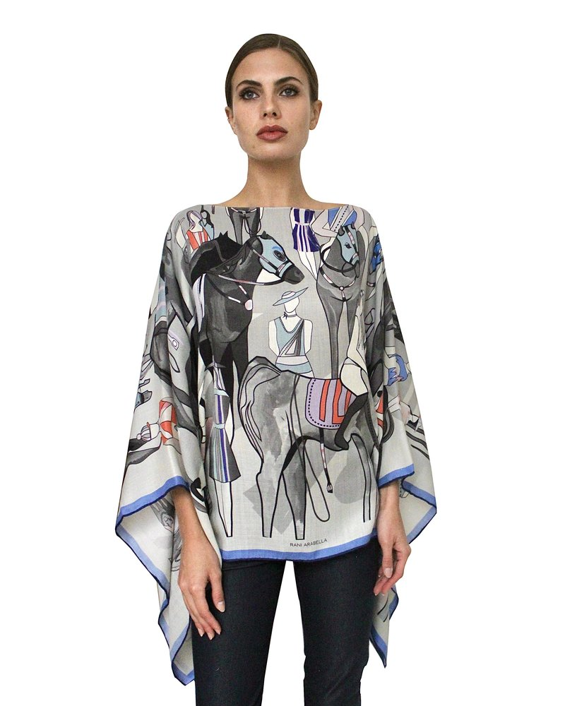 PRINTED CASHMERE PONCHO: AFTER THE RACE:BLUE