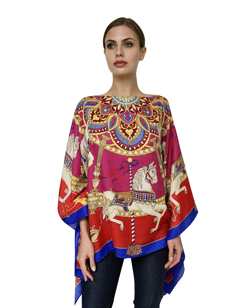 CASHMERE PRINTED PONCHO: TOY HORSES:RED