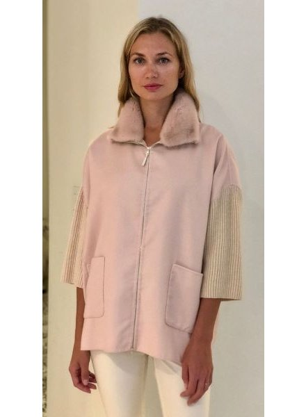 DF AND KNIT ZIP JACKET W/ FUR COLLAR, PINK-IVORY
