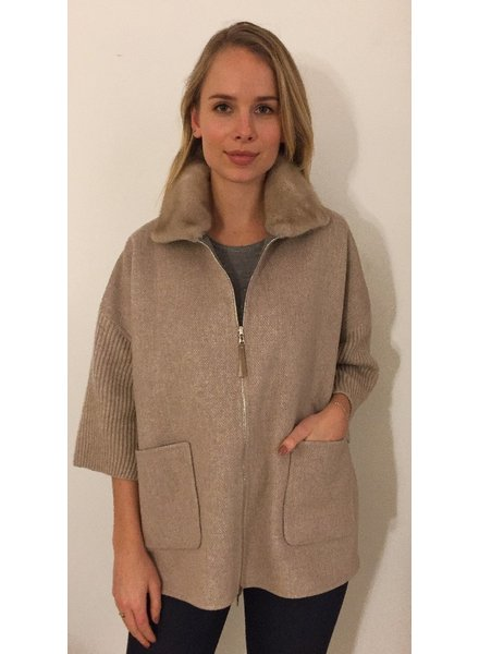 DF AND KNIT ZIP JACKET W/ FUR COLLAR, SAND
