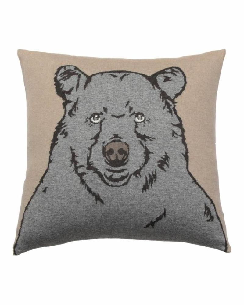 "CASHMERE BLEND BEAR PILLOW: 21"" X 21"": BEIGE-GRAY"