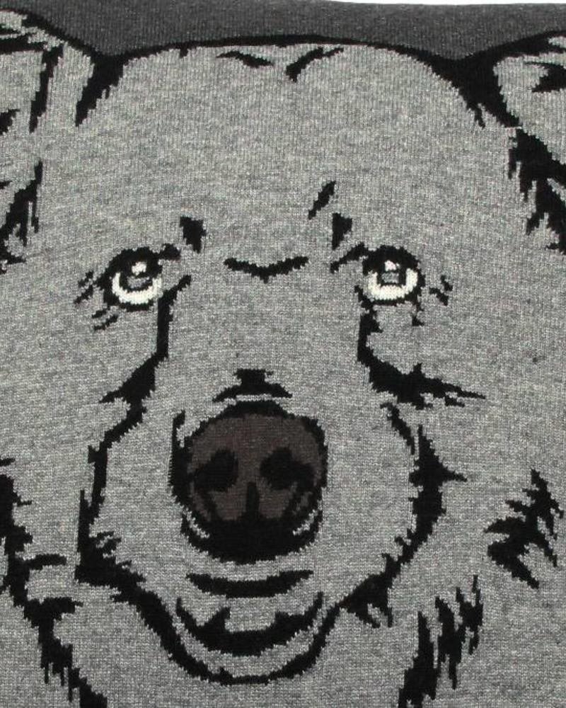"CASHMERE BLEND BEAR PILLOW: 21"" X 21"": ANTHRACITE-GRAY"