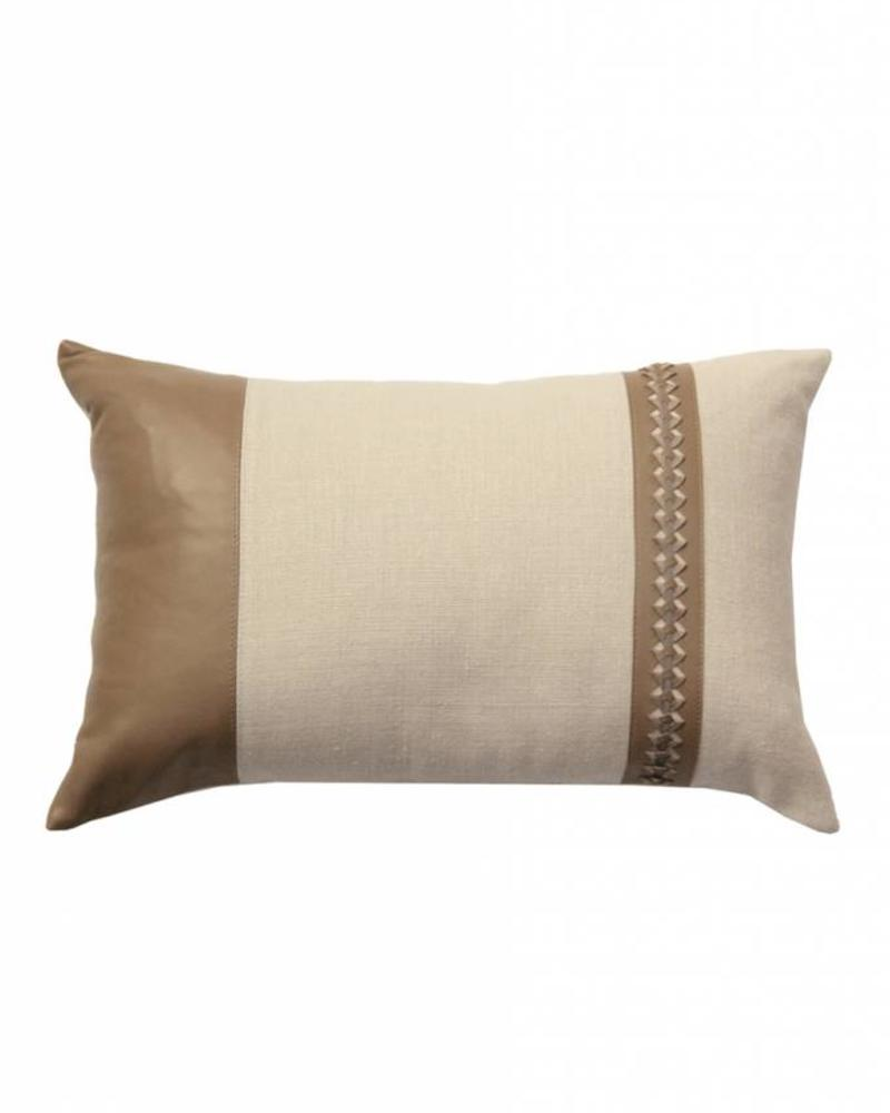 "ASTOR PILLOW LINEN-LEATHER-BRAIDED TRIM : 12"" X 18"":TAUPE-GRAY"