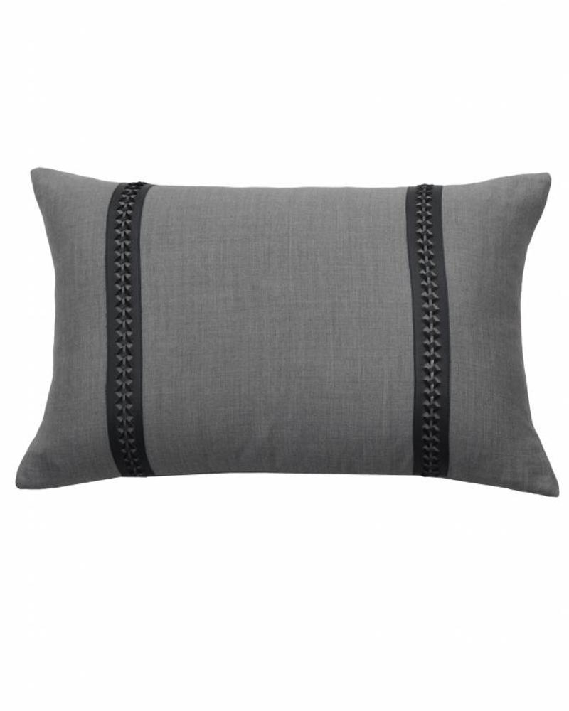 "WILLIAM PILLOW WOOL BASE WITH BRAIDED LEATHER: 16"" X 24"": CHARCOAL-MOCHA"
