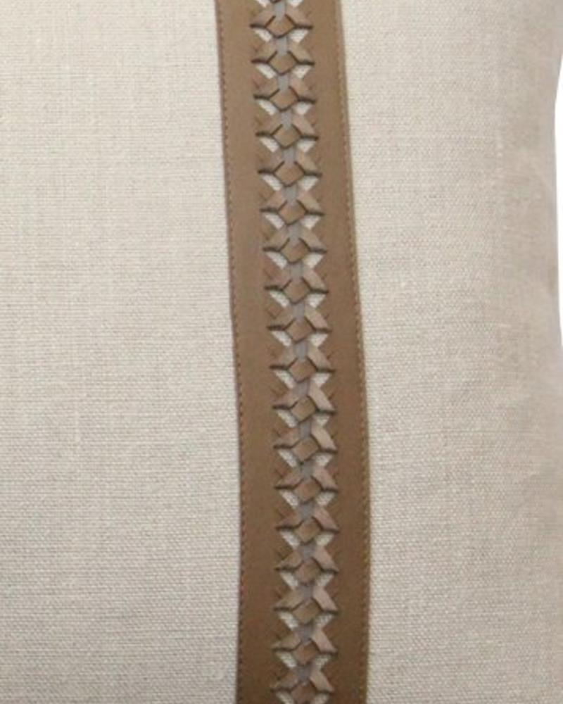 "WILLIAM PILLOW LINEN BASE WITH BRAIDED LEATHER: 16"" X 24"": TAUPE-GRAY"