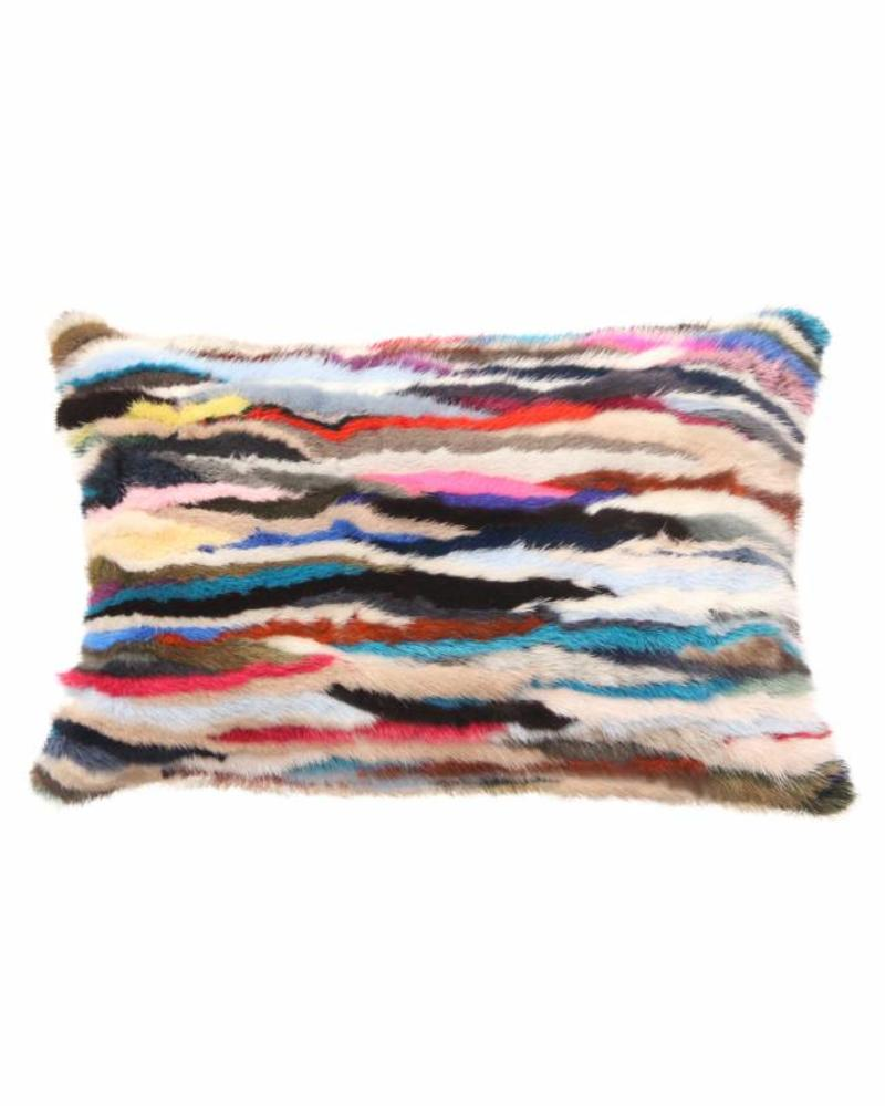 "VENEZIA MINK PILLOW: 12"" X 18"": MULTICOLOR"