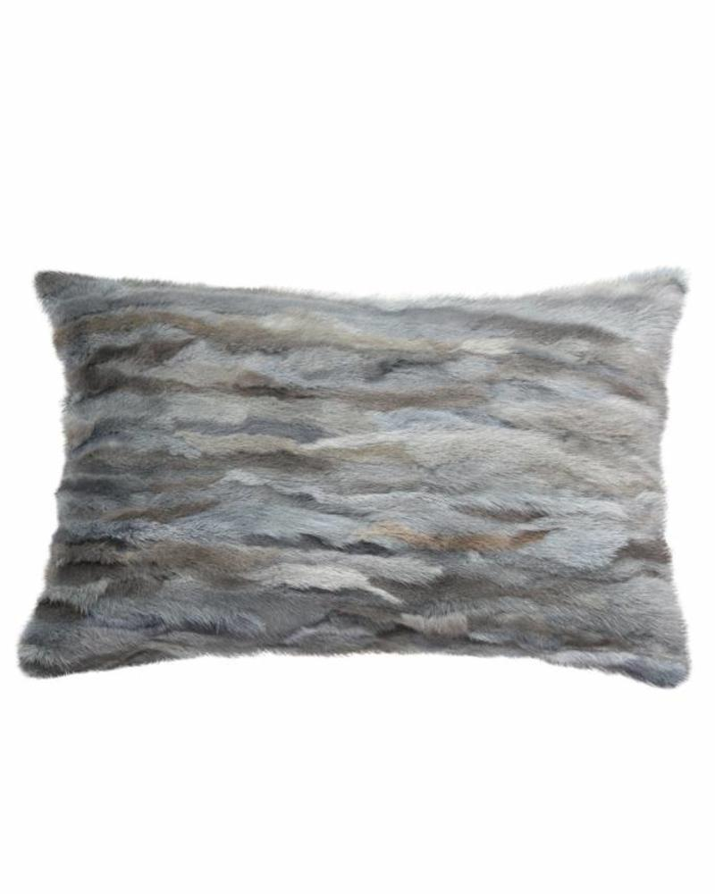 "VENEZIA MINK PILLOW: 12"" X 18"": GRAY-BLUE"