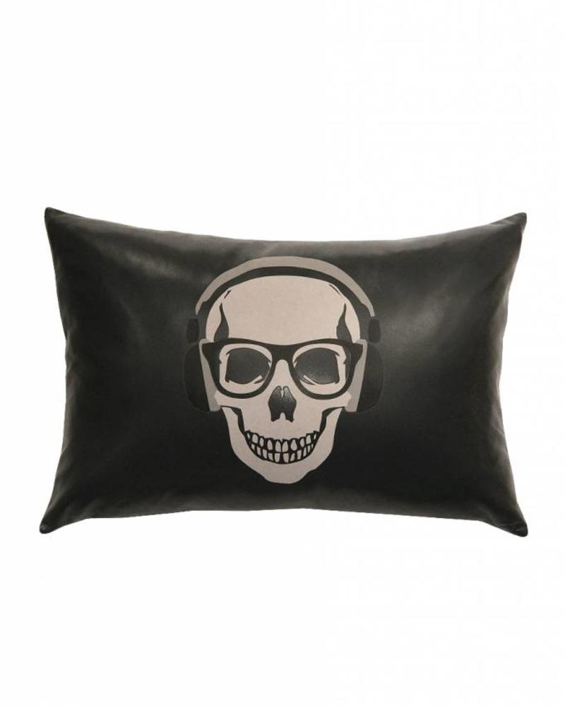 "SKULL LEATHER PILLOW: 12"" X 18"": CHARCOAL"
