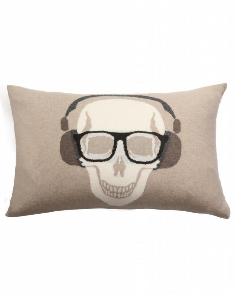 "SKULL HEADPHONES PILLOW: 16"" X 24"": BEIGE-CHOCOLATE"