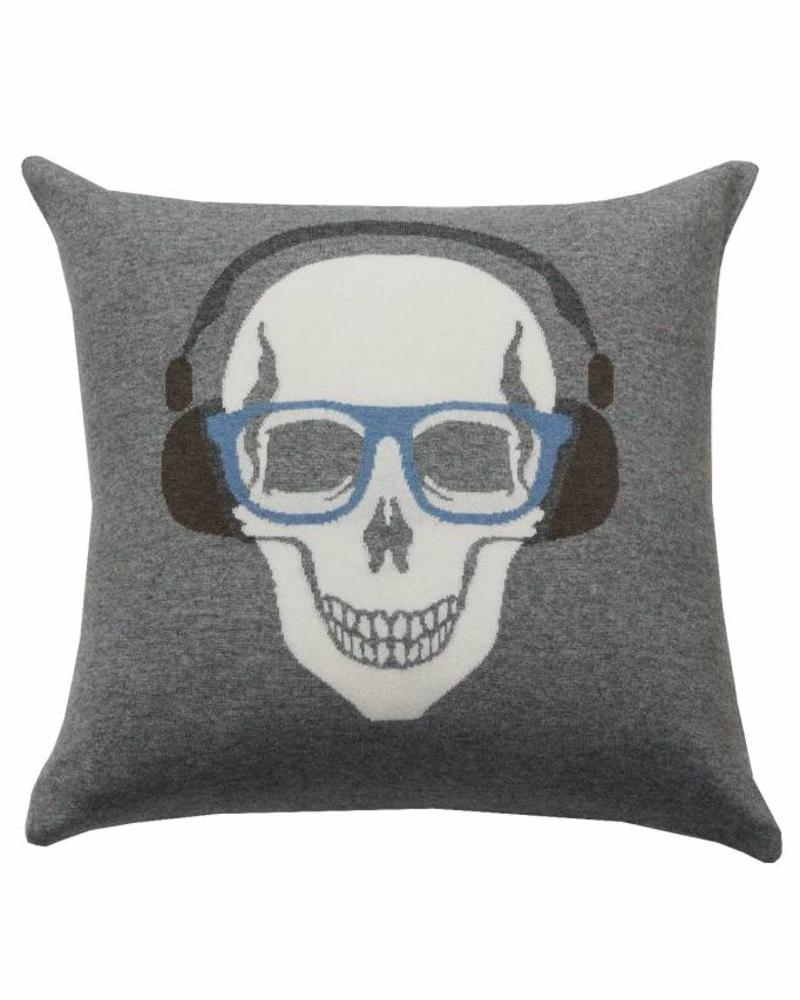 "SKULL HEADPHONES PILLOW: 21"" X 21"": GRAY-AZURE"