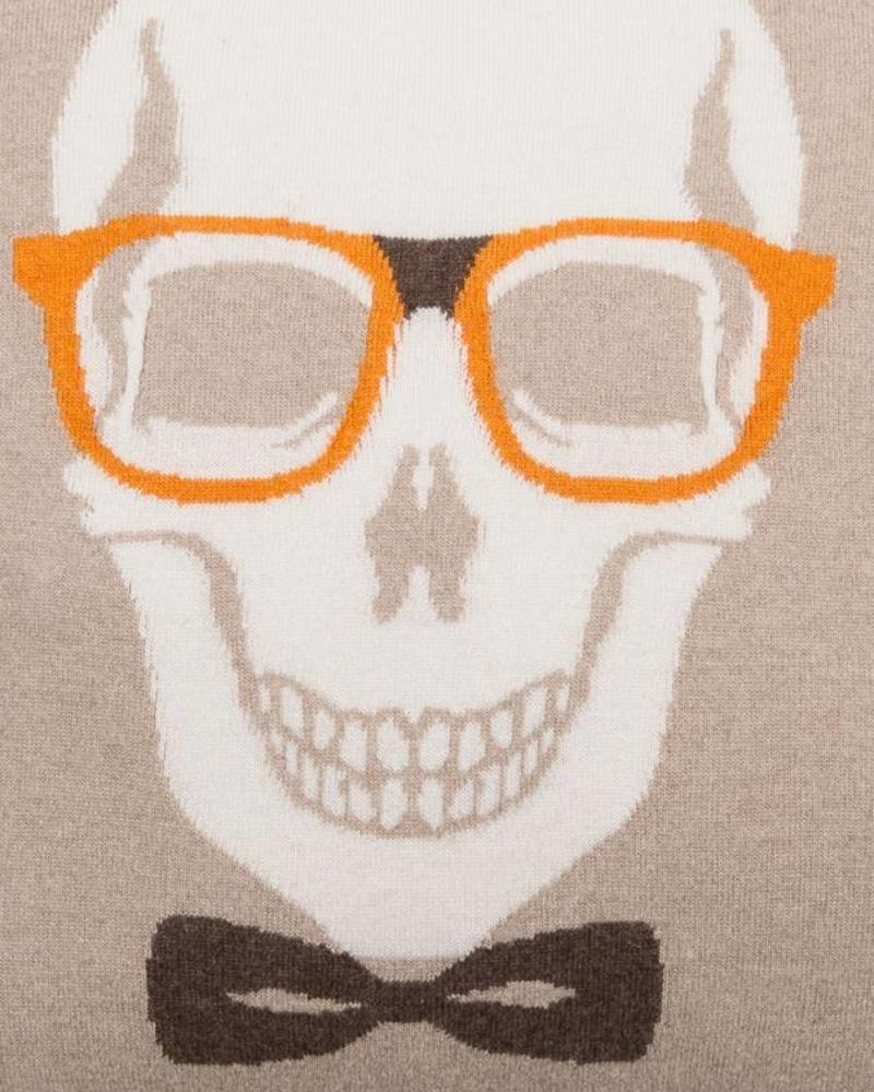 "SKULL BOW PILLOW: 21"" X 21"": SAND-ORANGE"