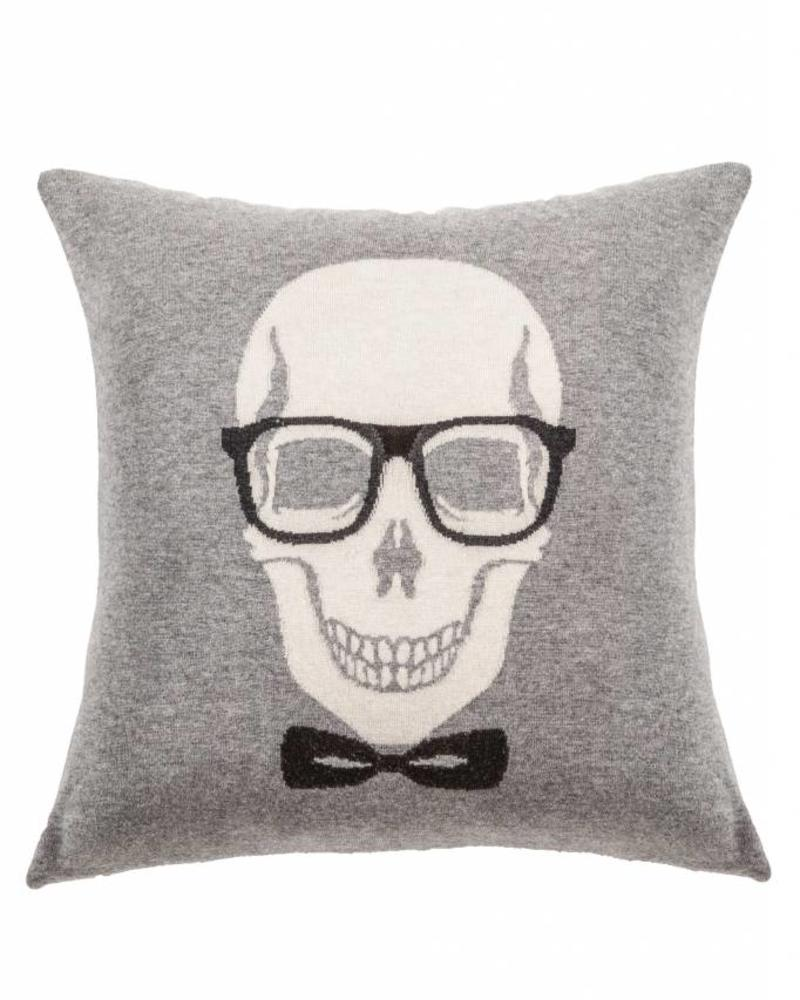 "SKULL BOW PILLOW: 21"" X 21"": GRAY"