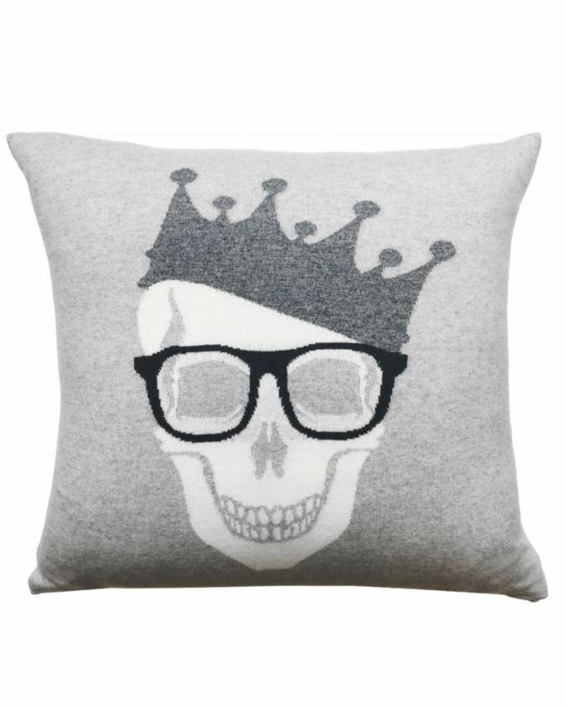 """SKULL CROWN PILLOW: 21"""" X 21"""": PEARL-ANTRACITE"""