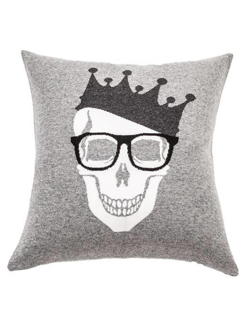 "SKULL CROWN PILLOW: 21"" X 21"": GRAY-BLACK"