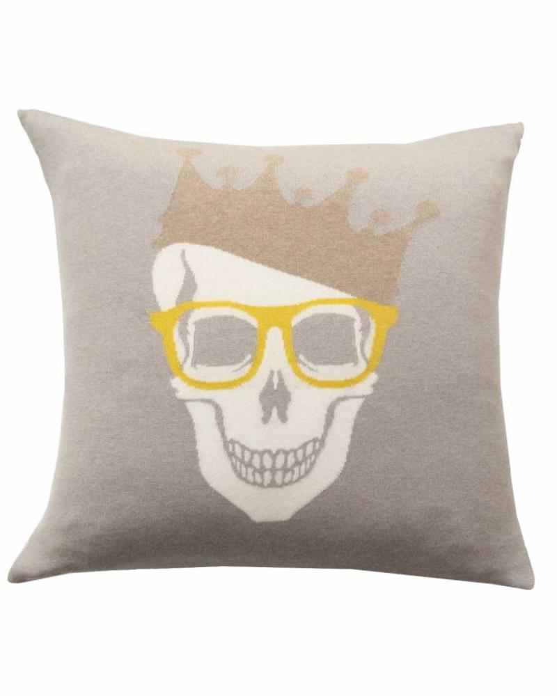 "SKULL CROWN PILLOW: 21"" X 21"": DOVE-YELLOW"