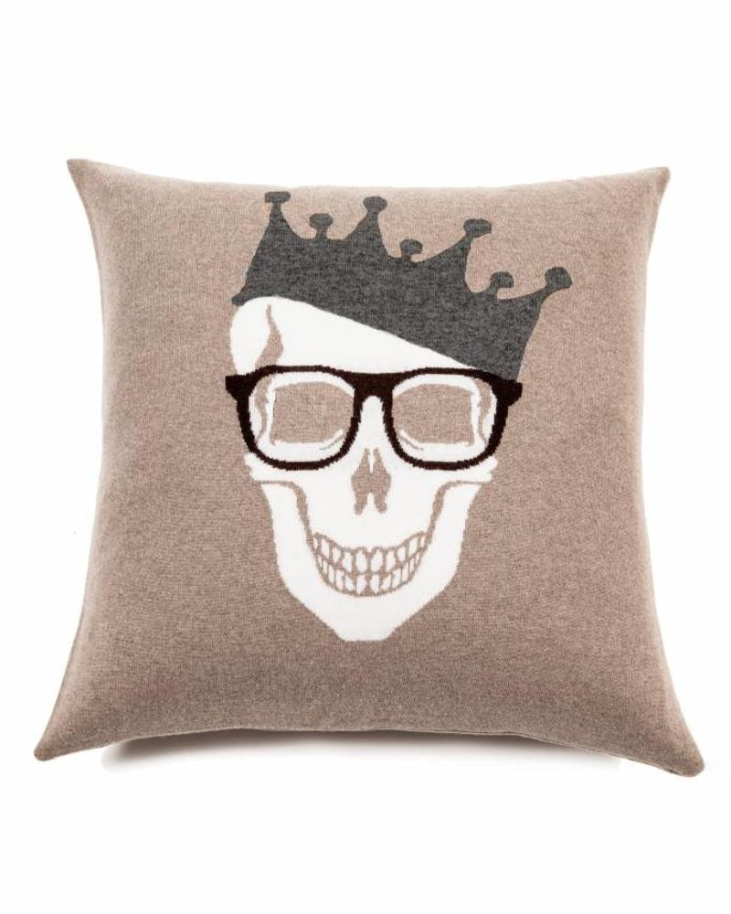 "SKULL CROWN PILLOW: 21"" X 21"": SAND-BROWN"