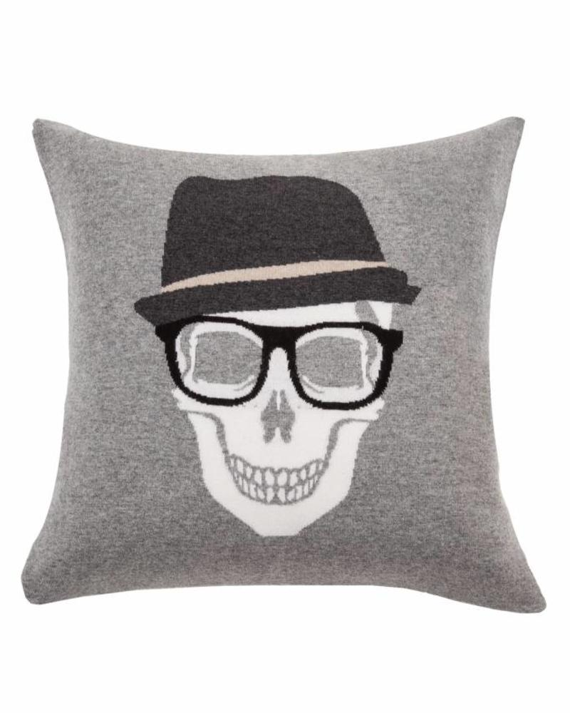 "SKULL HAT PILLOW: 21"" X 21"": GRAY"