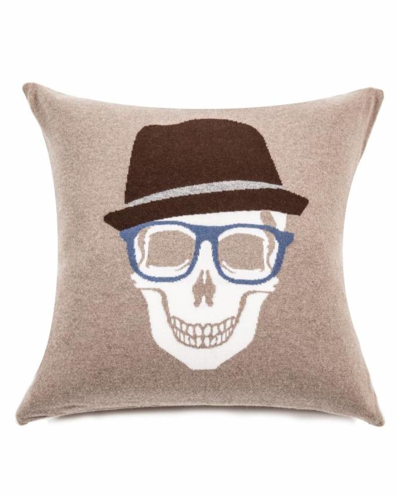 "SKULL HAT PILLOW: 21"" X 21"": TAUPE-AZURE"