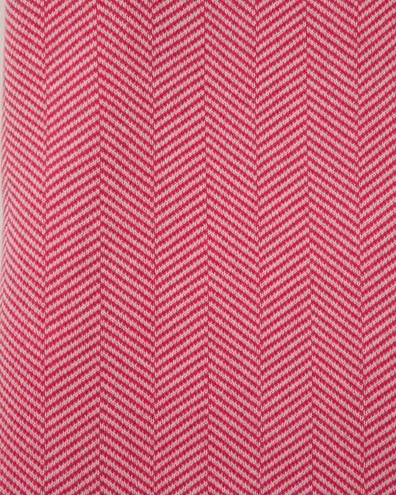 "HENRY HERRINGBONE THROW WITH BORDER: 100% COTTON: 52"" X 72"": FUCHSIA-IVORY"