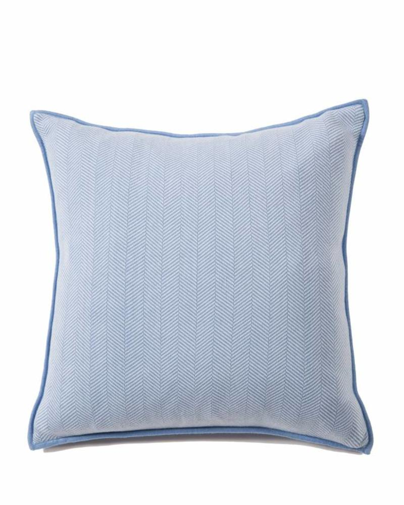 "HENRY HERRINGBONE PILLOW: 100% COTTON: 21"" X 21"": INDIGO-IVORY"