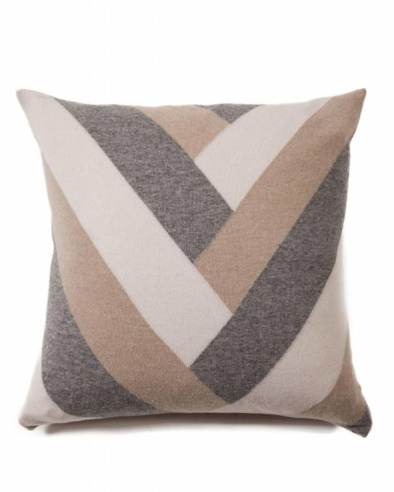"V PILLOW: 24"" X 24"": SAND-GRAY-IVORY"
