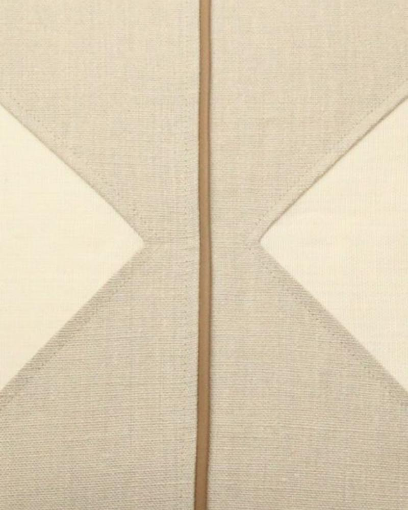 """POSITANO LINEN ASYMETRICAL PILLOW WITH LEATHER PIPING: 21"""" X 21"""": IVORY-BEIGE"""