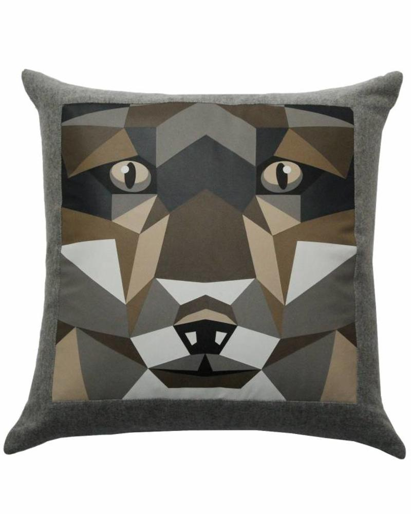 """LUPO WOOL-LEATHER PILLOW: 22"""" X 22"""": GRAY"""