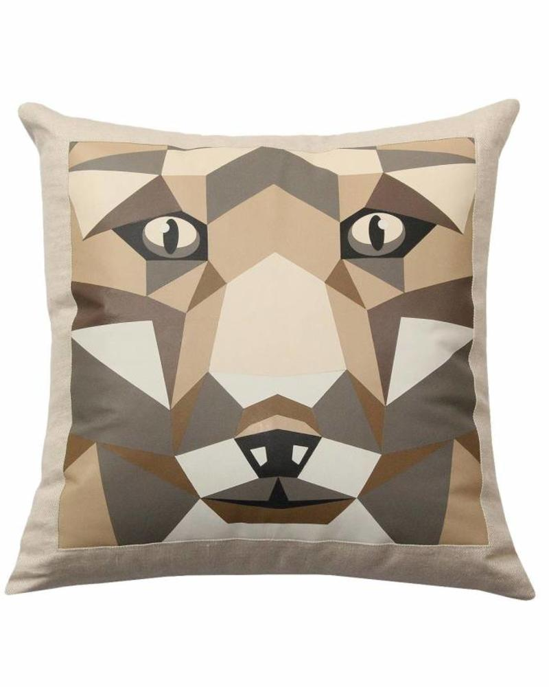 """LUPO LINEN-LEATHER PILLOW: 22"""" X 22"""": BEIGE"""