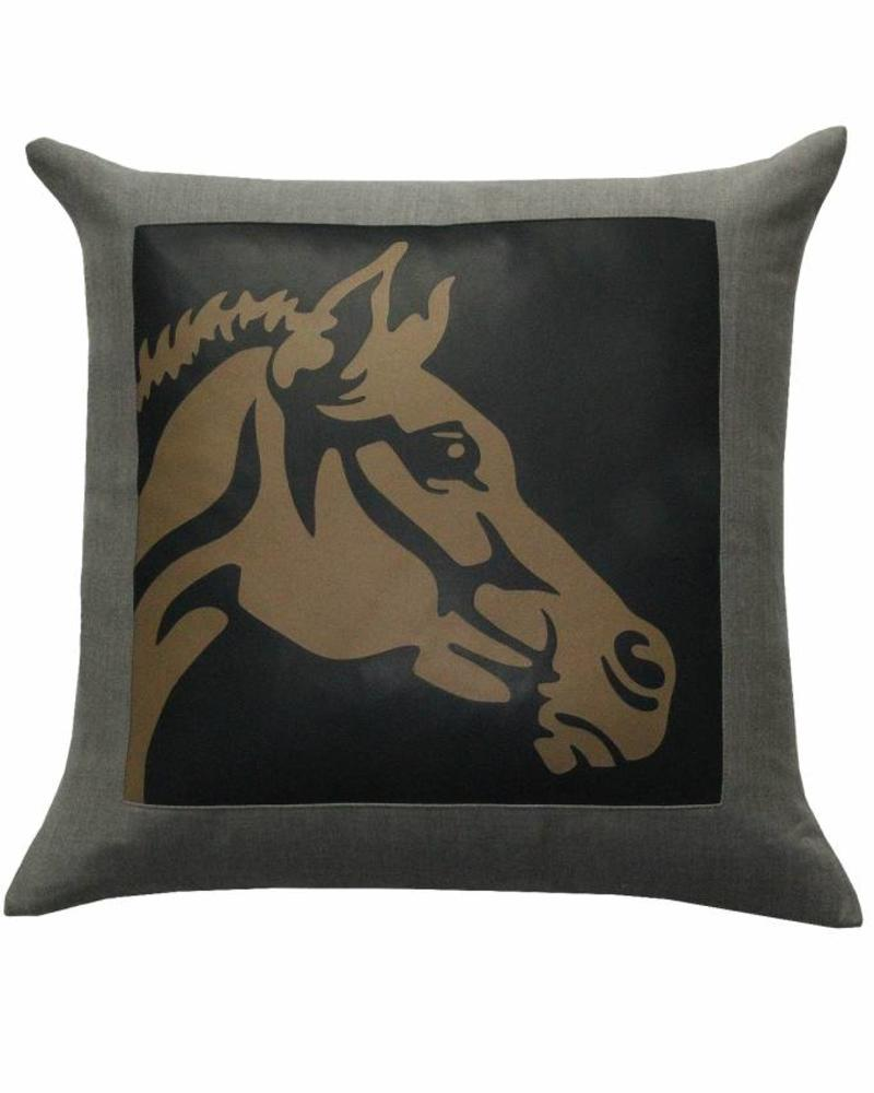 "HORSE WOOL-LEATHER PILLOW: 21"" X 21"": CHARCOAL"