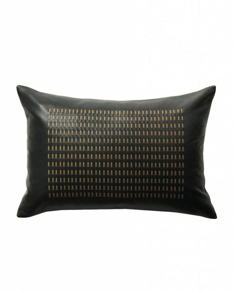 """DUKE LEATHER BRAIDED PILLOW: 12"""" X 18"""": CHARCOAL-BEIGE"""