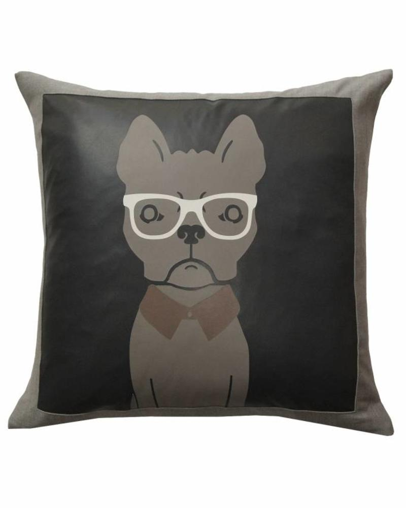 """DREAM BIG PILLOW WOOL-LEATHER: 21"""" X 21"""": CHARCOAL"""