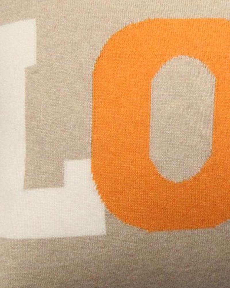 "LOVE PILLOW: CASHMERE BLEND: 16"" X 24"": ORANGE-IVORY-TAUPE"
