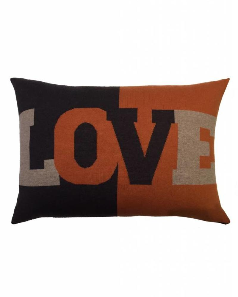 "LOVE PILLOW: CASHMERE BLEND: 16"" X 24"": TERRA-TAUPE"