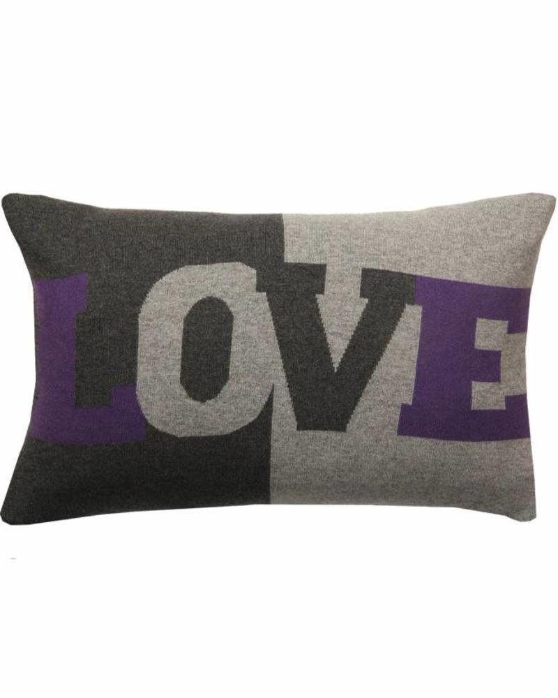 "LOVE PILLOW: CASHMERE BLEND: 16"" X 24"": GRAY-PURPLE"