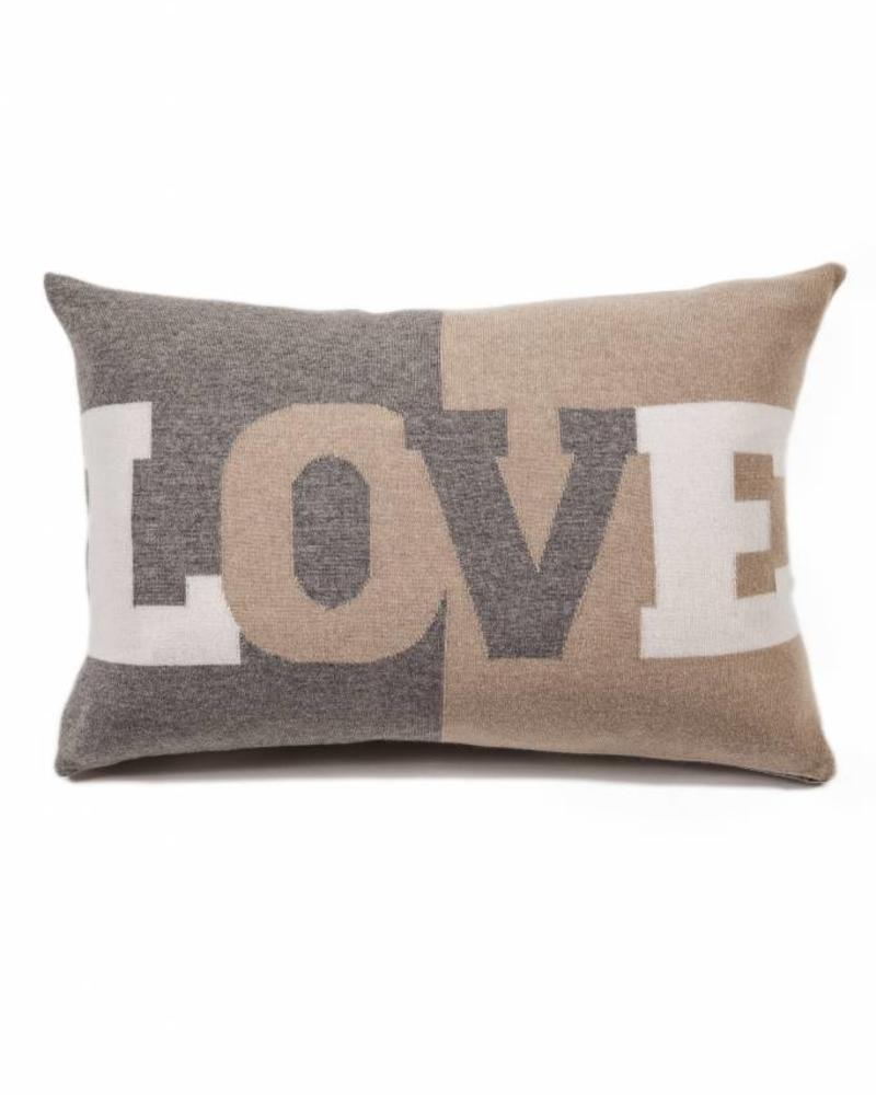 """LOVE PILLOW: CASHMERE: 16"""" X 24"""": GRAY-SAND-IVORY"""