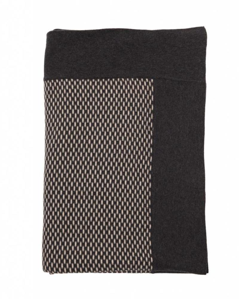 "DUKE COTTON INTRICATE KNIT THROW: 52"" X 72"": ANTHRACITE-TAUPE"