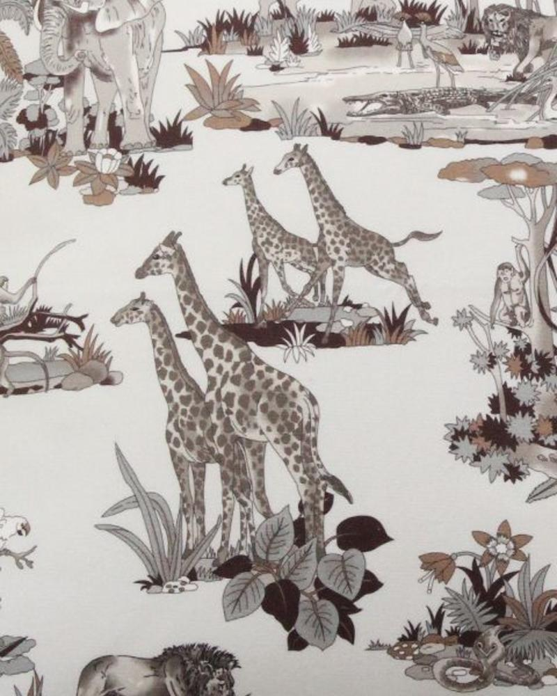 "SAFARI PRINT COTTON PILLOW: 21"" X 21"": IVORY"