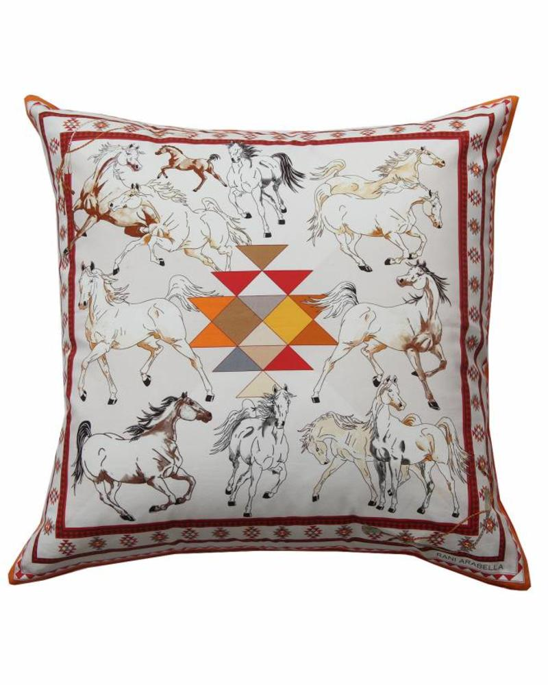 "AZTEC PRINT COTTON PILLOW: 22"" X 22"": ORANGE"