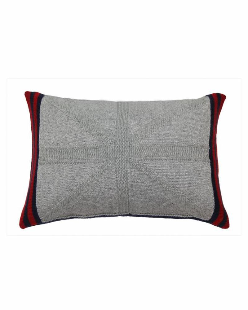 "CASHMERE UNION JACK PILLOW: 12"" X 18"": GRAY"