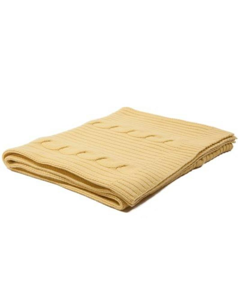 "CASHMERE ROMA CABLE KNIT THROW: 50"" X 72"": YELLOW"